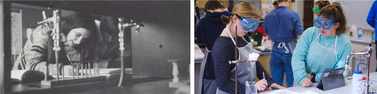 old and new pictures of students in science labs