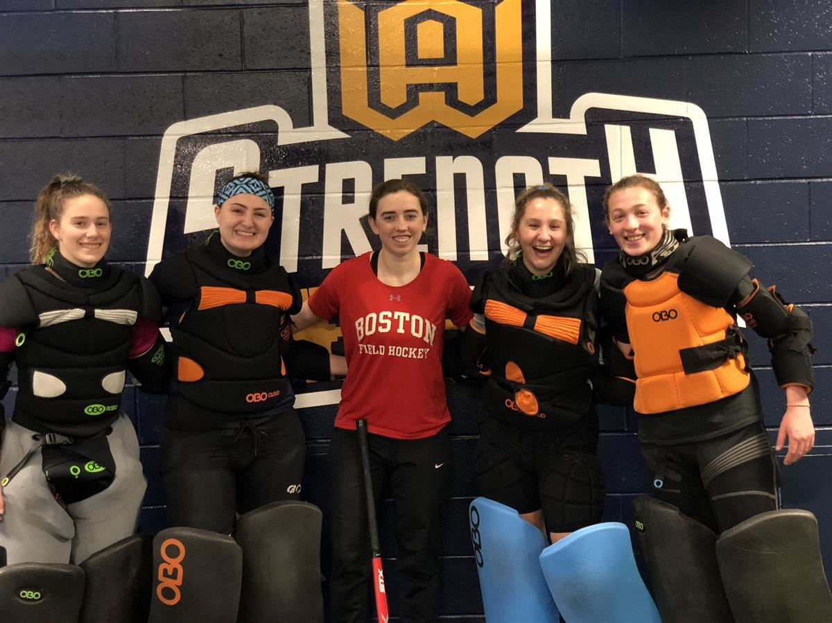 Boston University goalie, Kathleen Keegan, visited Woodstock Academy on Saturday, Jan. 12