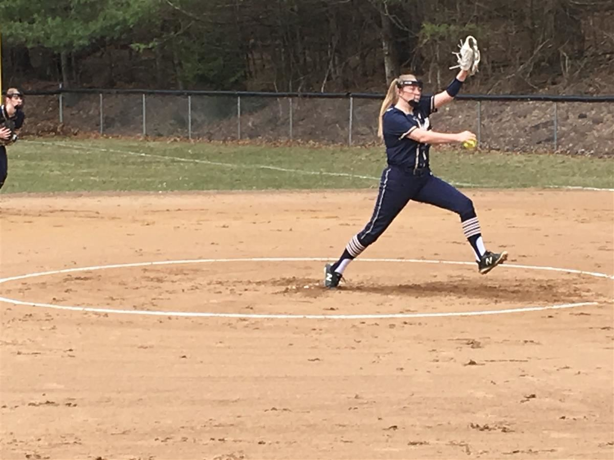 Mackenzie Leveille delivers to the plate versus Griswold