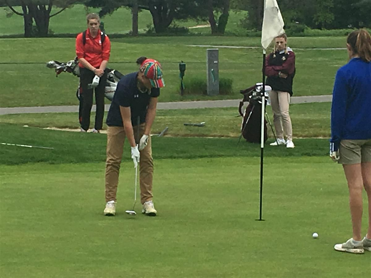 Kailey LaChappelle putts on the fifth green at the ECC championship