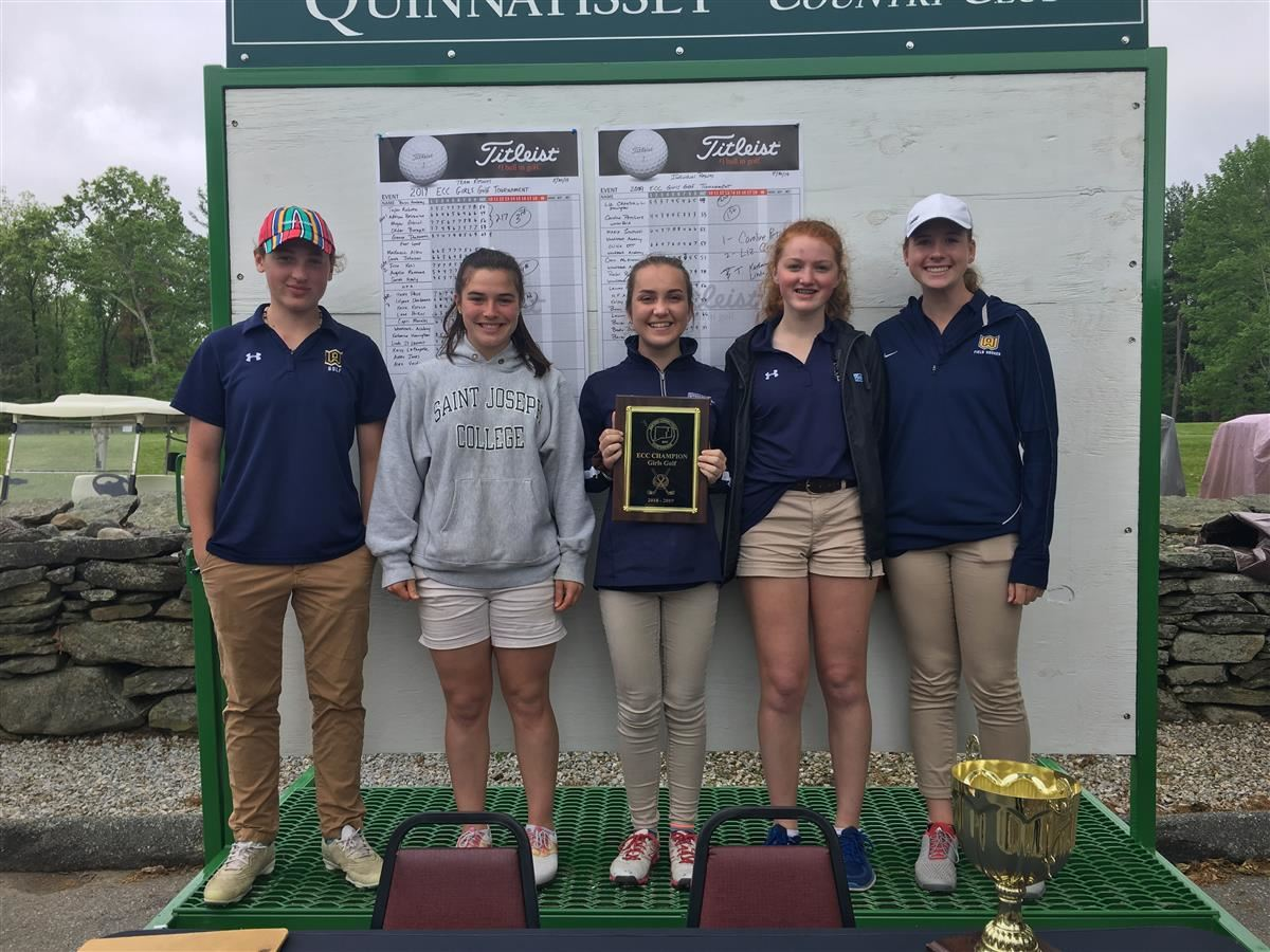 The Woodstock Academy girls golf team celebrates its ECC tournament championship
