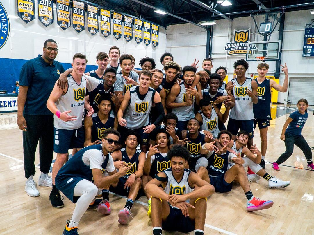 Woodstock Academy's boys prep basketball teams after Midnight Madness